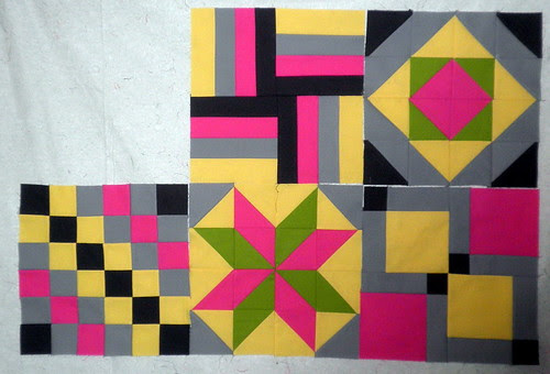 Blocks 1 - 5:   Patchwork Squared Modern Solids Quilt Along