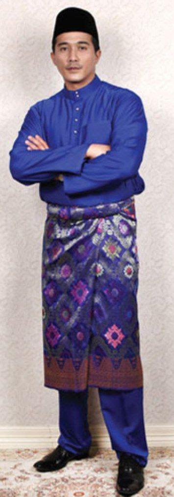 baju melayu biru malay traditional costume pinterest