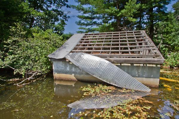 disintegrating cabin, aluminum roof peeling back, reflecting