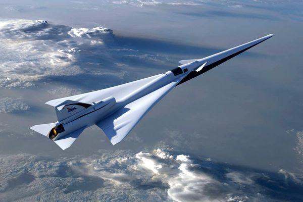 An artist's concept of NASA's QueSST X-plane soaring high in the sky.