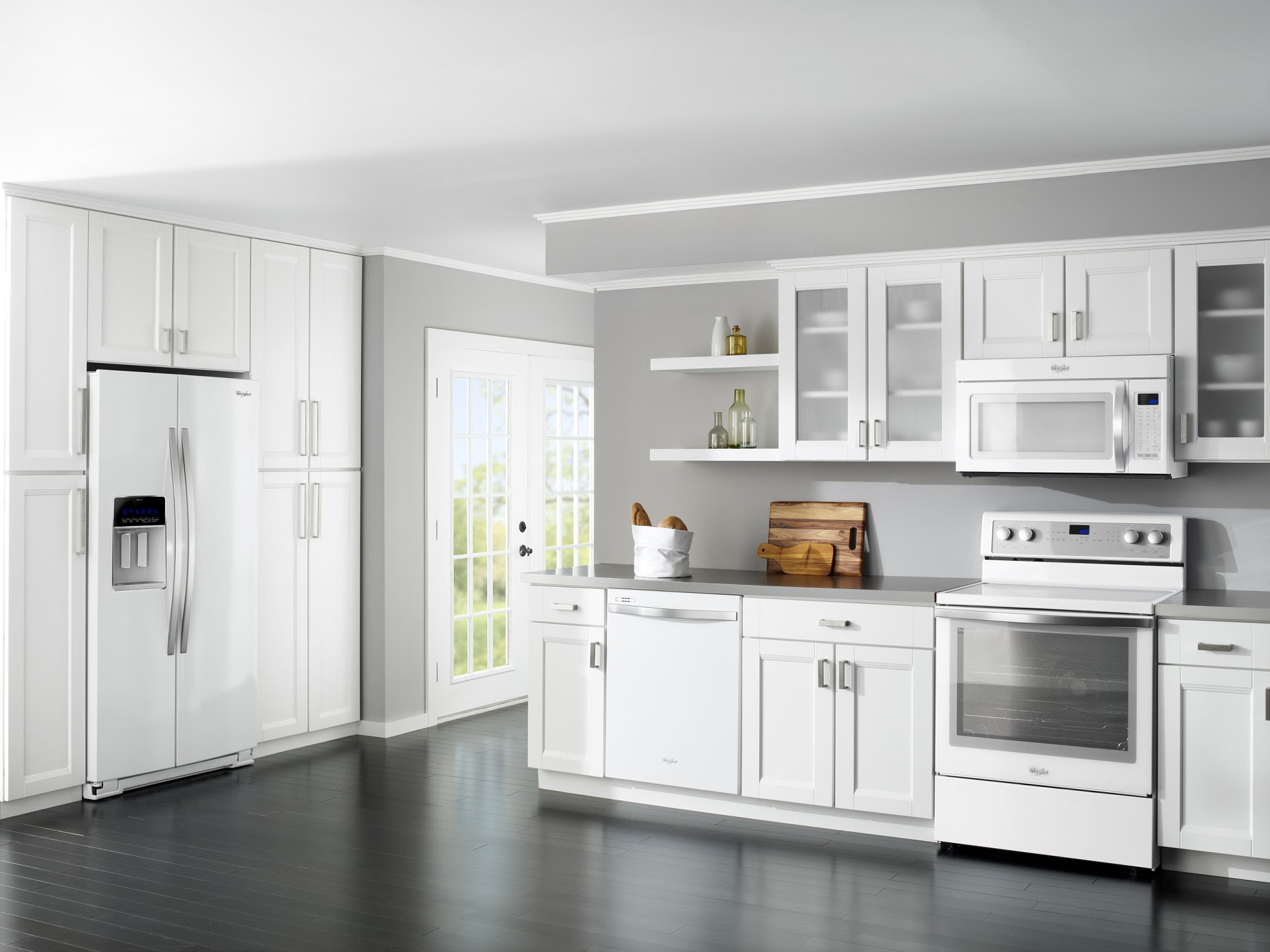white cabinets and white appliances refridgerator stove
