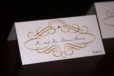 Gold Scroll Wedding Place Cards   Too Chic & Little Shab