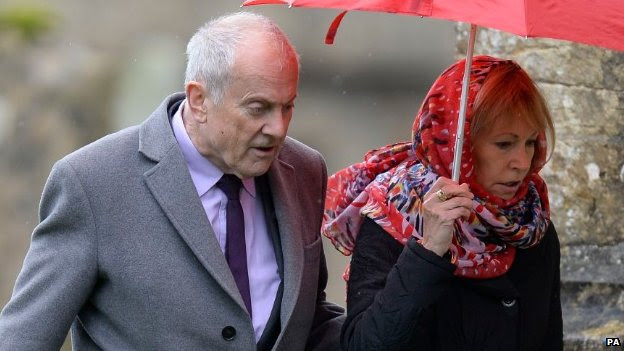 Gyles Brandreth and wife Michele Brown arriving for the funeral