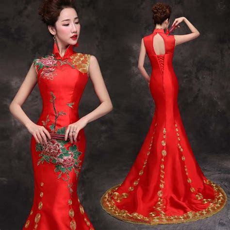 Gold embroidered red mandarin collar mermaid Chinese