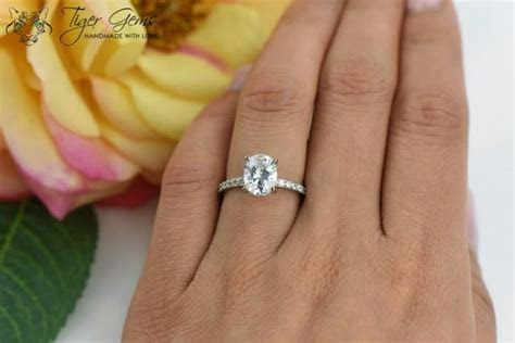 2 Carat, Oval Solitaire Ring, Blake Engagement Ring, Half