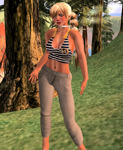 50L Friday Cropped Tank stripes and my wool pants beige