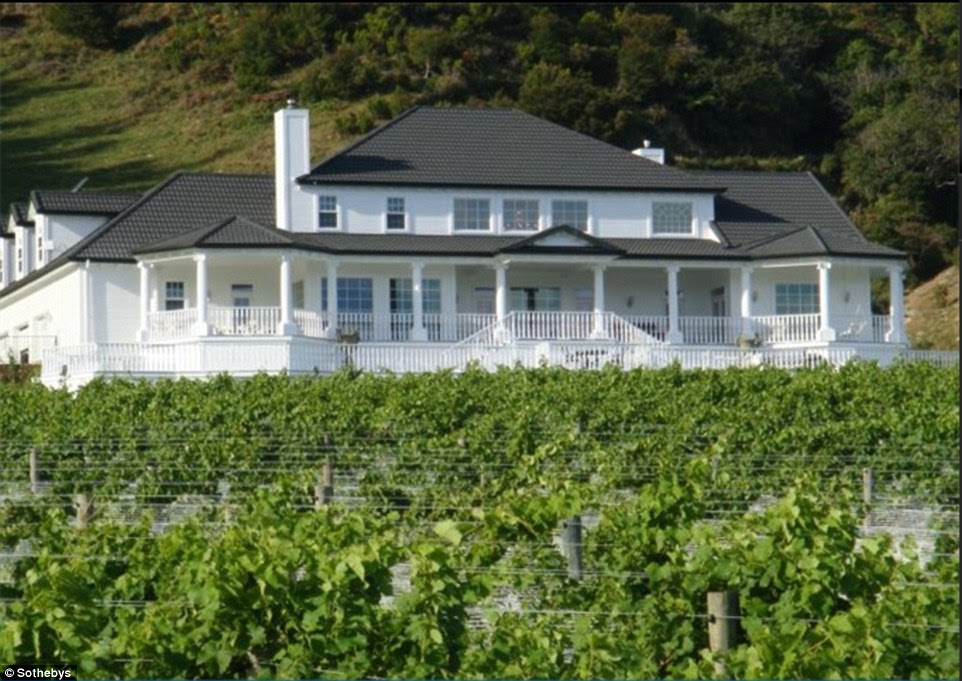 Wine: American billionaire William Foley is one of several who have snapped up vineyards like this one, which is on sale for £4,932,695. The ocean-front property includes a four-bedroom house, its own beach and forest - as well as red deer, sheep, cattle and Boer Goat