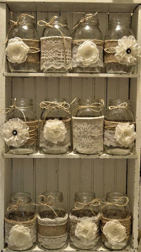 Bridal Shower, Wedding Centerpieces, Burlap Mason Jars, No