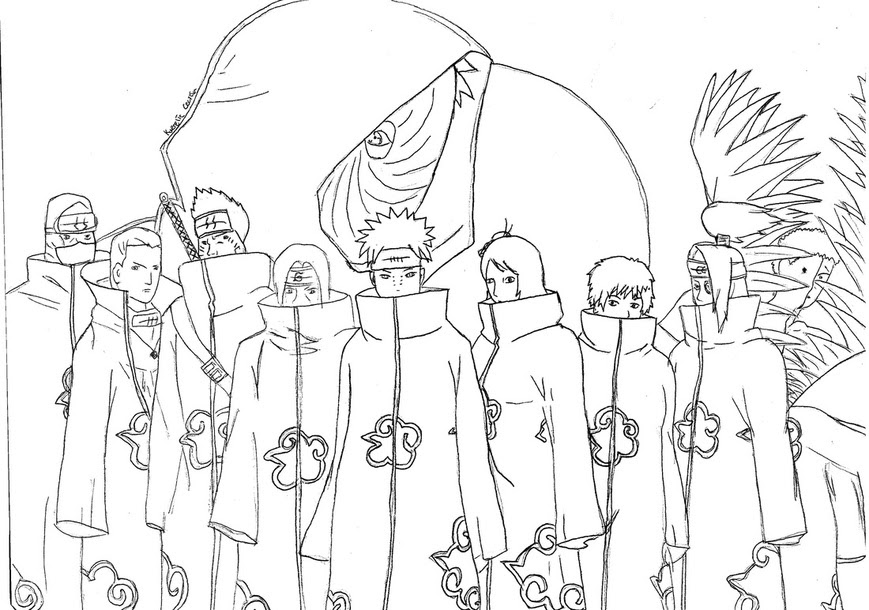 Kumpulan Mewarnai Gambar Naruto Akatsuki Download Gambar Online