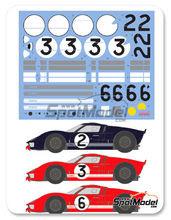 Calcas 1/24 Shunko Models - Ford GT40 - Nº 2, 3, 6 - 24 Horas de Le Mans 1966 para kit de Fujimi FJ12101 y  FJ12125