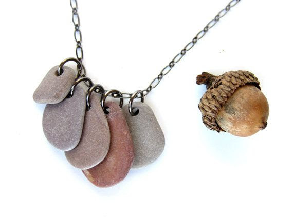 "Purple beach stone necklace for the wild at heart.  ""Wild Berries"" - 1655"