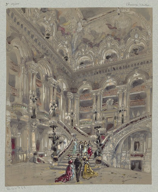 rough watercolour of 19th c. Paris opera house entrance hall and grand staircase