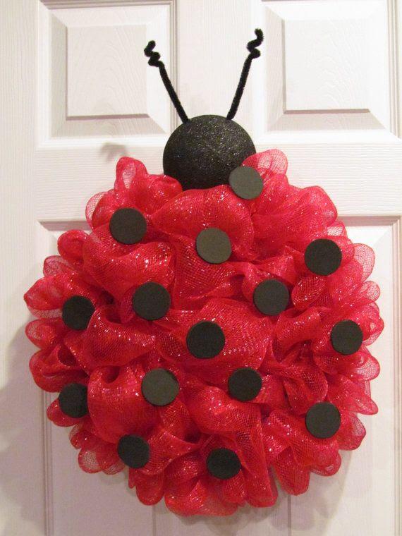 Lady Bug Deco Mesh Wreath