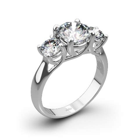 3 Stone Trellis Diamond Engagement Ring   1025