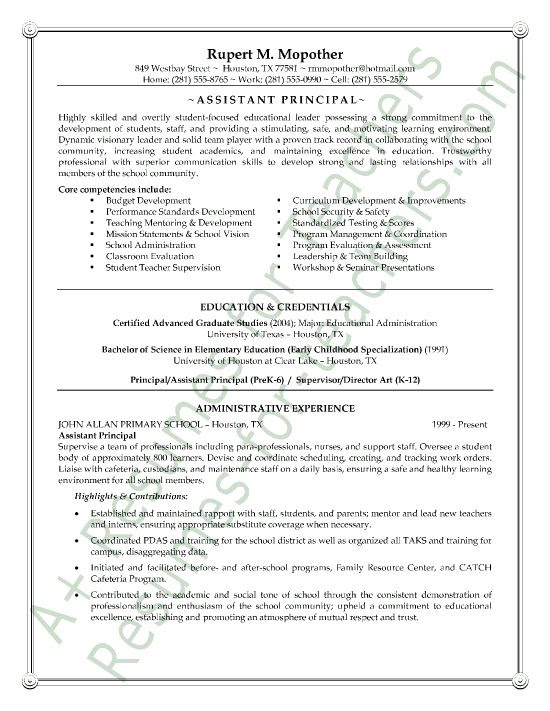 Assistant Principal Resume Sample Page 1 Entry Level