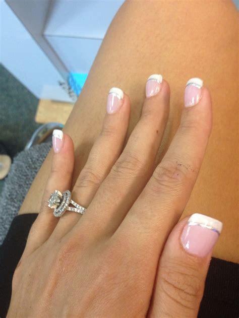 Wedding nails; silver underline, gold or a pretty blue
