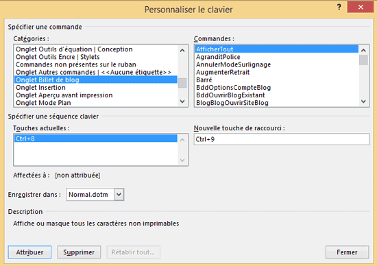 personnaliser raccourcis clavier