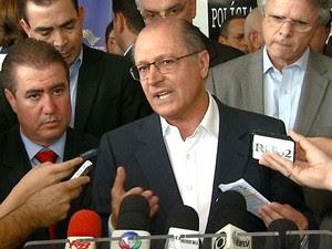 O governador de São Paulo, Geraldo Alckmin, durante visita em Campinas, SP (Foto: Reprodução / EPTV)
