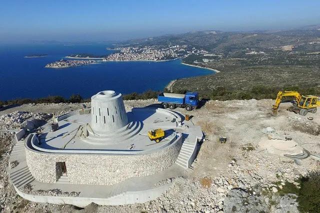 Construction at the future site of a 55-foot Marian statue in Primošten, Croatia. Credit: Municipality of Primošten. Photo courtesy of Total Croatia News.