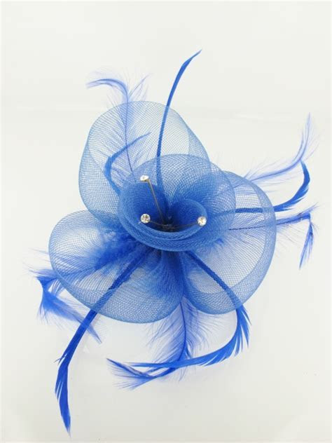 Blue Crin and Feather Fascinators   Cheap Blue Fascinators