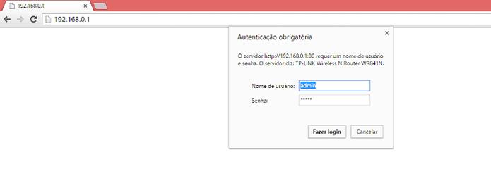 Use o navegador para entrar nas configurações do roteador (Foto: Reprodução/Gabriel Ribeiro)