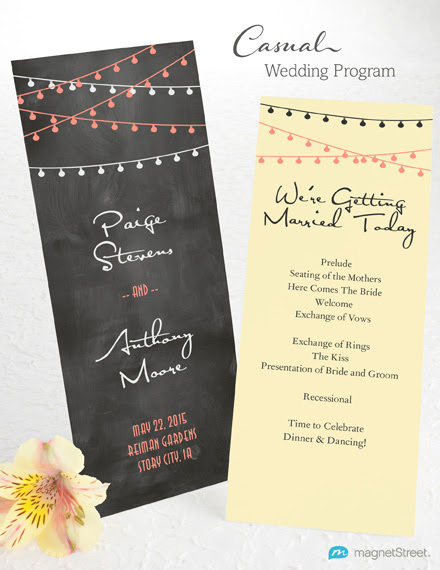 Wedding Program Wording Casual_26444