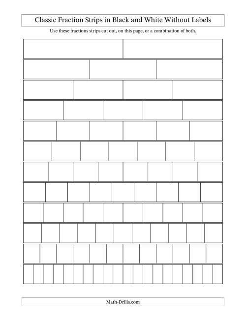 Blackline Fraction Strips -- Unlabeled Fractions Worksheet