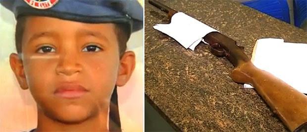 Felipe Gomes da Silva, de 8 anos, brincava com a espingarda do pai quando a arma disparou (Foto: Reprodução/Inter TV Cabugi)