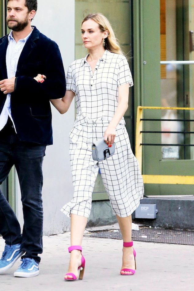 Le Fashion Blog Diane Kruger Under 50 Grid Print Separates Crop Top Gaucho Culottes Pink Ankle Strap Sandals Budget Friendly Celebrity Style
