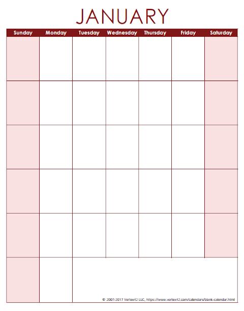 January 2020 Calendar 11x17