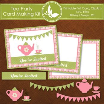 Free SVG Tea Party Invitation Card