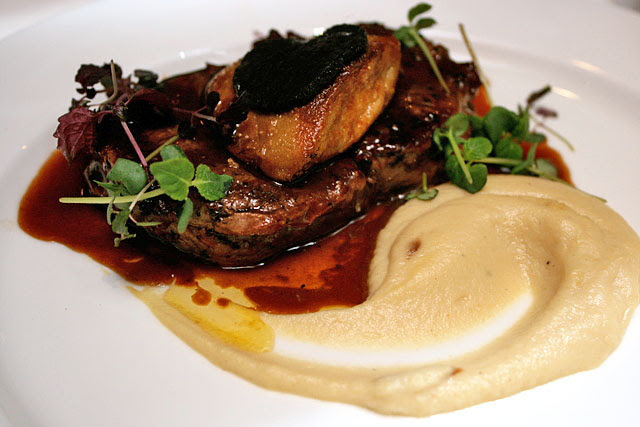 Tenderloin Rossini: Grilled Tenderloin topped with Seared Foie Gras served with Celery Puree and Bordelaise sauce with Sliced Truffle