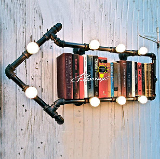 Loft Industrial BookShelf 8 Lights wall Sconce - contemporary