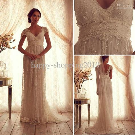Cheap Lace Pearl Wedding Dress Empire Waist Lace Bodice