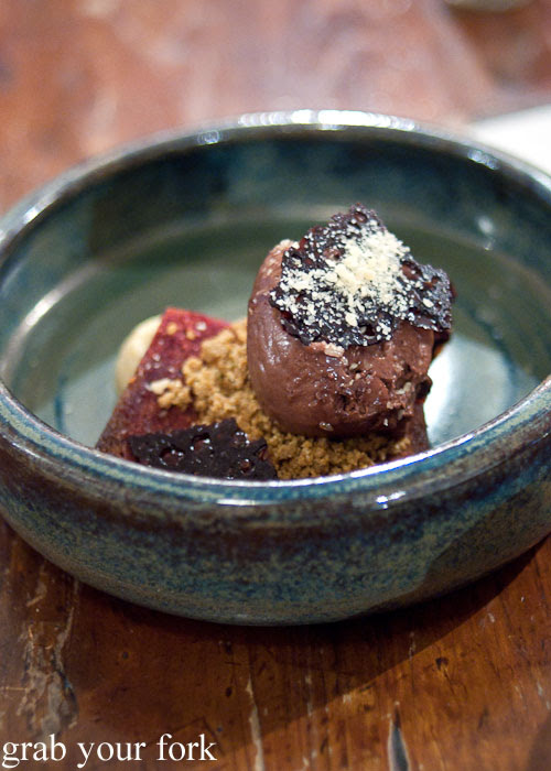Chocolate, beetroot, buttermilk, salt and nuts