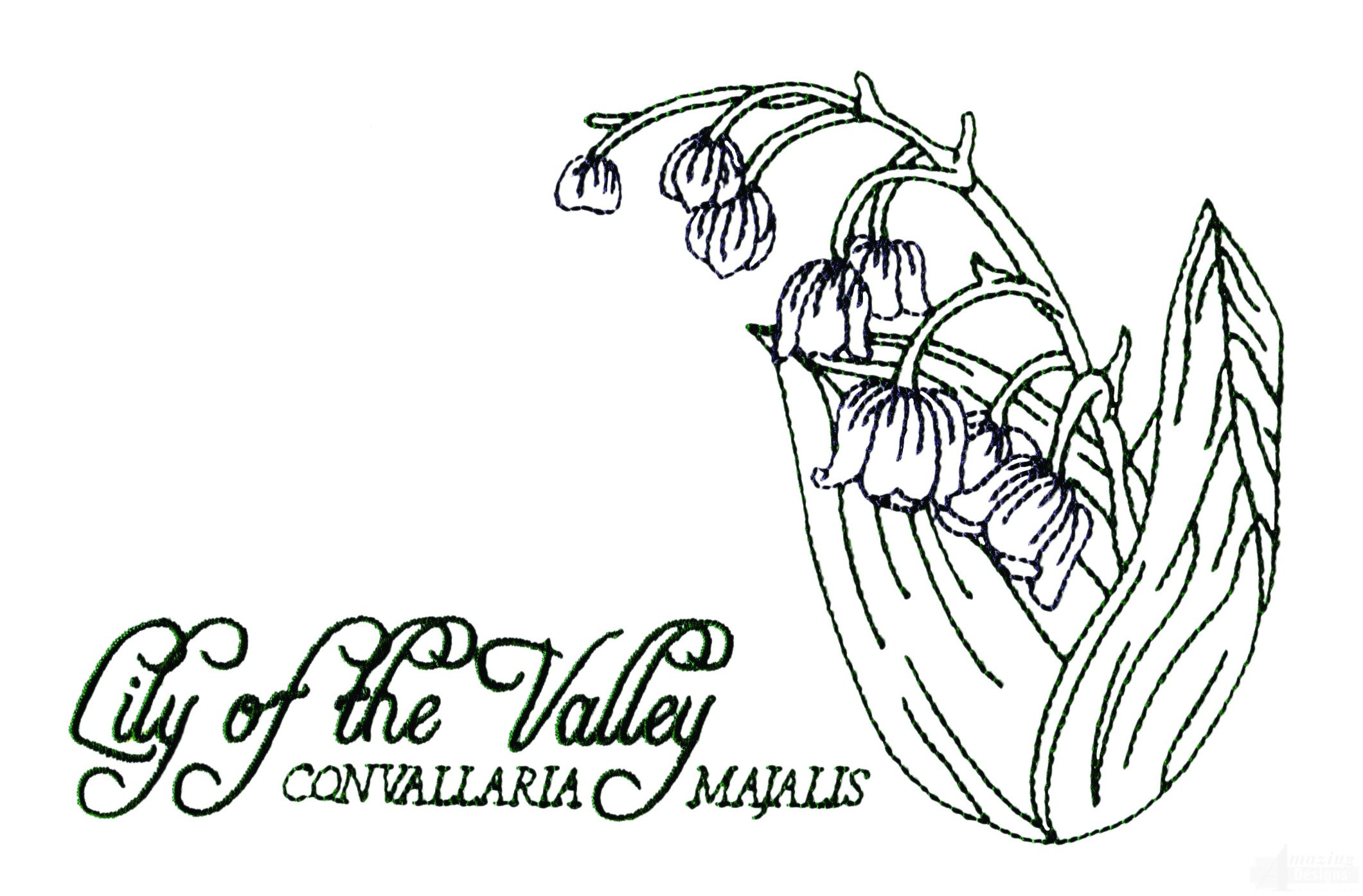 Large Lilly Of The Valley Embroidery Design