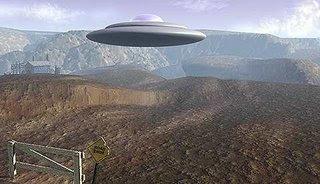 Flying Saucer Hovers Over Desert