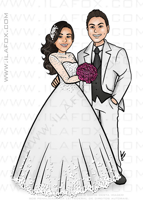 caricatura noivos, caricatura casal, caricatura noivinhos, noivinhos personalizados, caricatura para casamento by ila fox