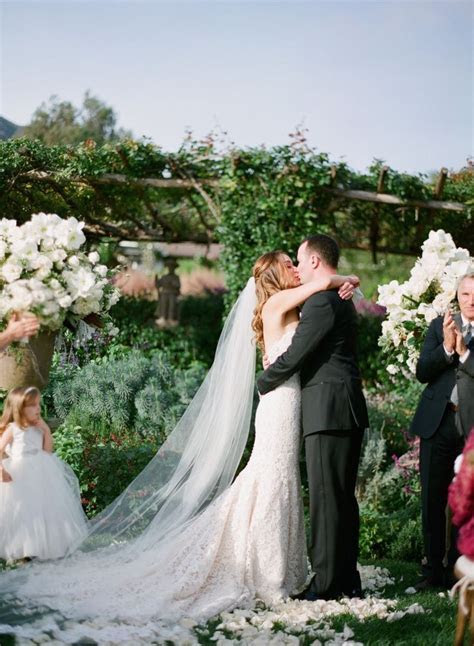 San Ysidro Ranch Wedding   The first kiss as man and wife