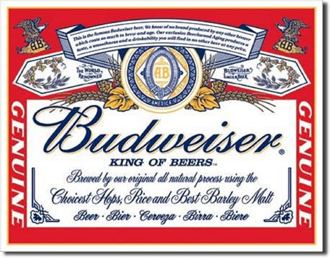 budweiser king  beers vintage label tin sign metal