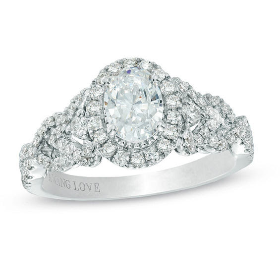 Vera Wang Love Collection 1 Ct Tw Oval Diamond Frame Engagement