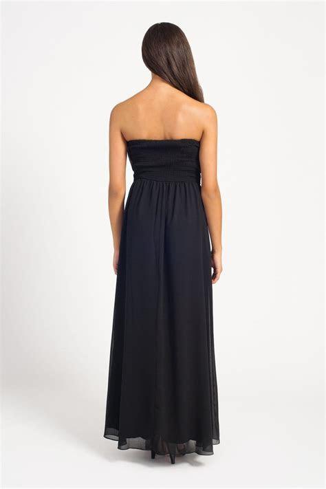 Black Pleated Belted Bandeau Chiffon Maxi Dress