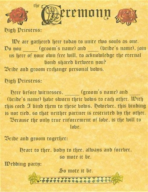 """BOOK OF SHADOWS PAGE """"Handfasting and Ceremony"""" WICCA"""