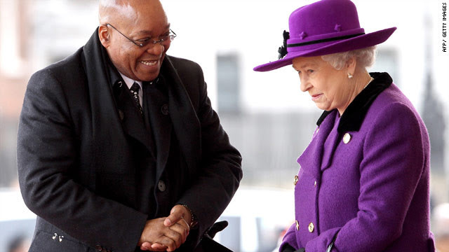 Queen Elizabeth II tends to break sartorial rules choosing to wear vibrant colors like bright purple during the March 2010 state visit by South African President Jacob Zuma.