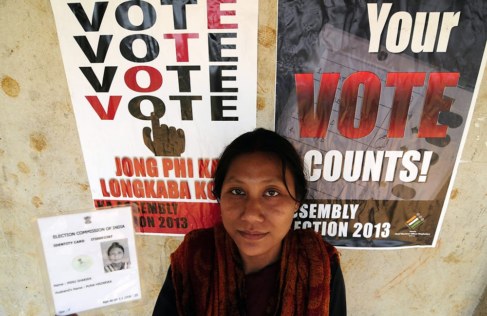 A woman registers to vote in Ribhai district of Meghalaya state. (EPA/STR)