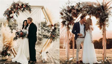 Top 20 Bohemian Pampas Grass Wedding Arches   Roses & Rings