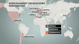 Mapa de les deu noves delegacions que preveu obrir el govern català