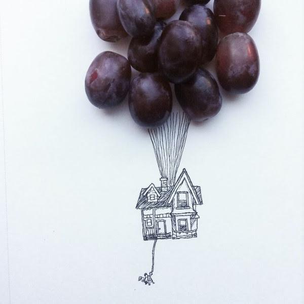 ユーモアに溢れたイラスト小物や食べ物を使って面白い絵を描く
