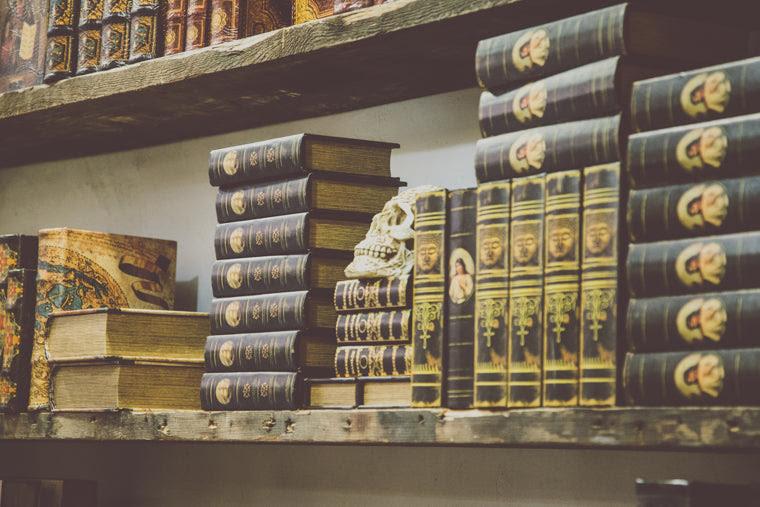 Photo of Skull on antique bookshelf